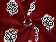 Maroon Motifs Design Cotton Fabric