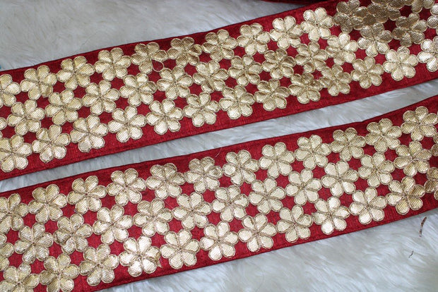 Maroon Floral Gota Work Lace Border