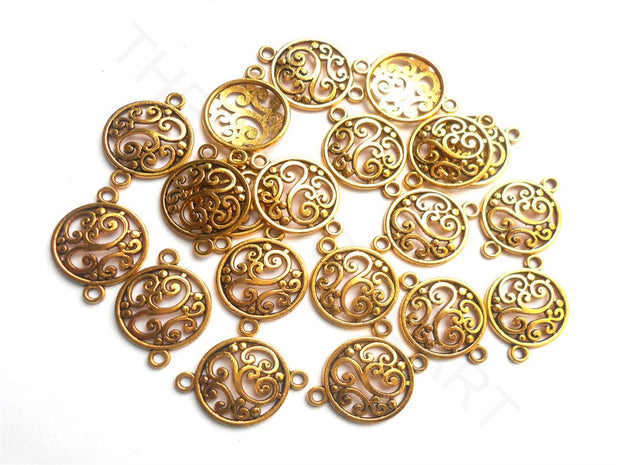 Golden German Silver Floral Connector Charms | The Design Cart (3791477604386)