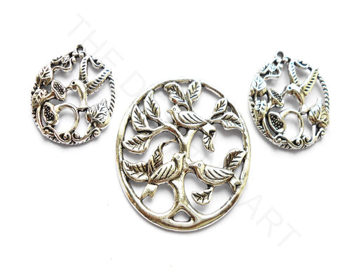 Silver Birds Pendant with Charms