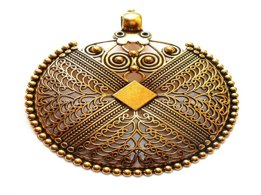 Antique Golden Metal Shield Pendant