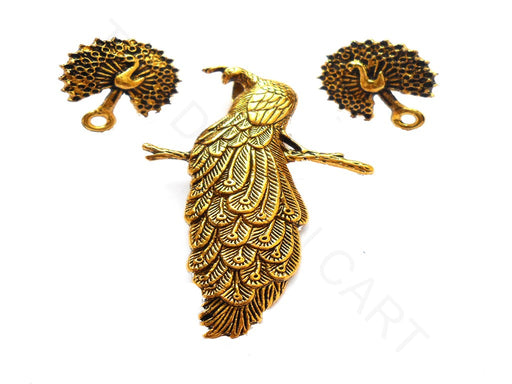 Golden Peacock Pendant with Studs