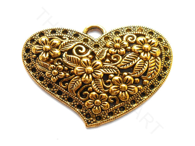 Oxidized Golden Heart Designer Pendant | The Design Cart (3922559631394)