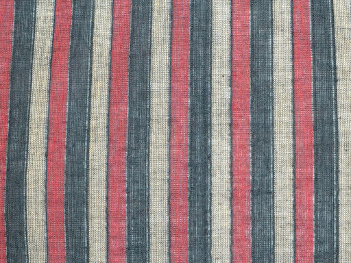 Maroon Black Stripes Mangalagiri Cotton Fabric