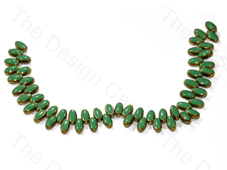Vertical Oval Glossy Plastic Stones with enamel