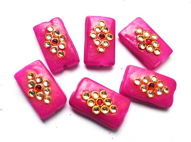 Magenta Rectangular Kundan Stone Beads (22x12 mm) (4543989219397)