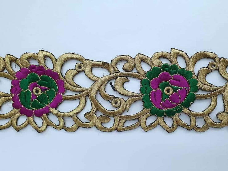 Magenta Golden Thread Cutwork Embroidered Border