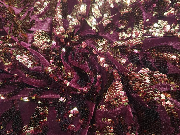 Maroon Flowers Shimmer and Sequins Embroidered Lycra Fabric