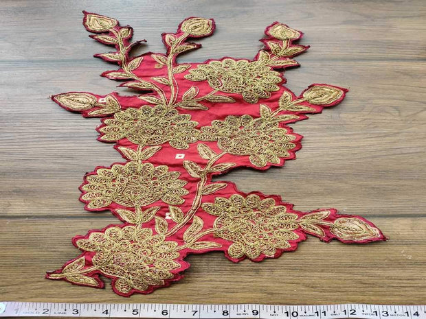 Maroon Flower Tafetta Dori Embroidered Patches (4555366203461)