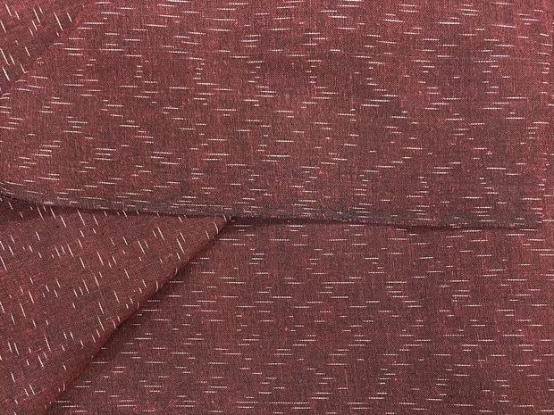 Maroon White Line Yarn Dyed Cotton Ikat Fabric