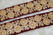 Maroon Stone Work Embellished Embroidered Lace Border
