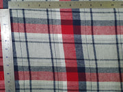 Red Melange Yarn Dyed Lurex Brushed Checks Twill Cotton Fabric