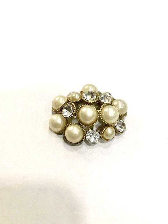 Golden White Pearls and Crystals Metal Embellishment Stones (4477727211589)
