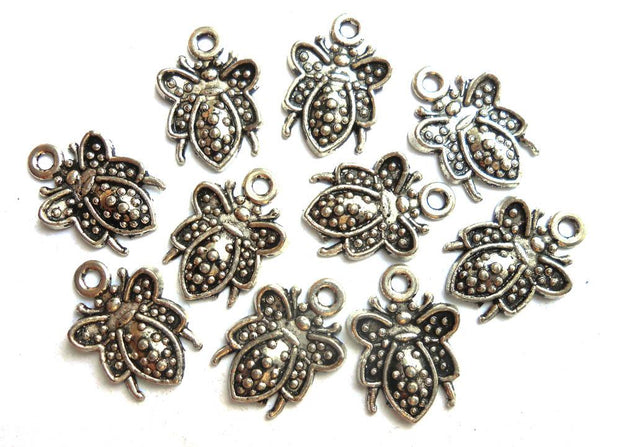 Silver Flies Metal Charms (13x9 mm)