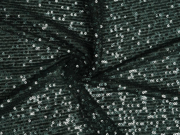 Midnight Green Black Sequins Embroidered Lycra Net Fabric