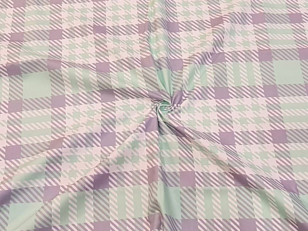 Mint Gray White Plaid Checks Printed Cotton Fabric