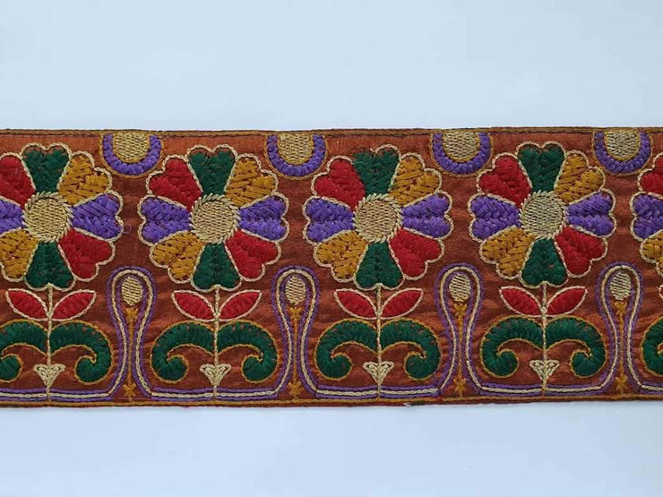 Multicolour Thread Work Dupion Base Embroidered Border