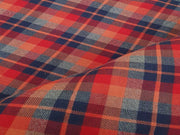 Orange Multicolour Yarn Dyed Herringbone Checks Flannel Twill Cotton Fabric