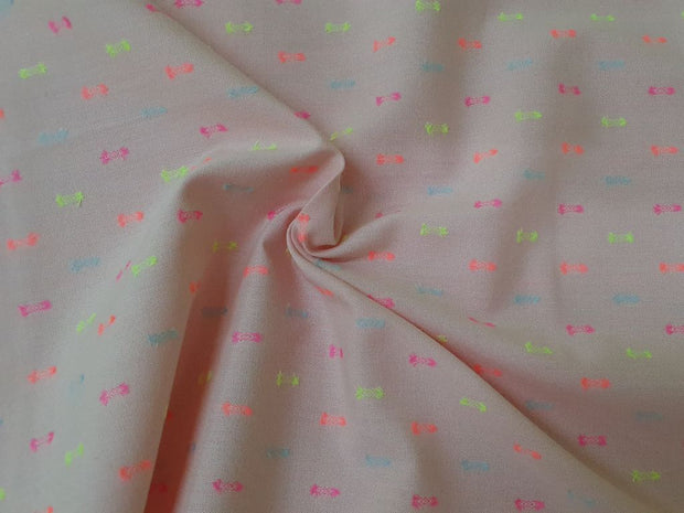 Pink Multicolour Swiss Buttas Yarn Dyed Cotton Fabric