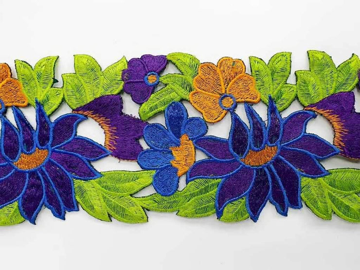 Multicolour Blue Green Flowers Cutwork Embroidered Lace Border