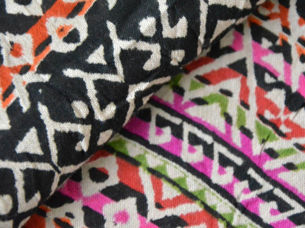 Multicolour Geometric Crinkled Digital Printed Viscose Crepe Fabric