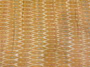 Mustard Multicolour Abstract Printed Cotton Ikat Fabric