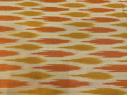 Mustard Orange Abstract Printed Cotton Ikat Fabric