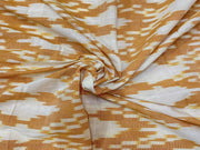 Mustard Yellow White Abstract Printed Cotton Ikat Fabric