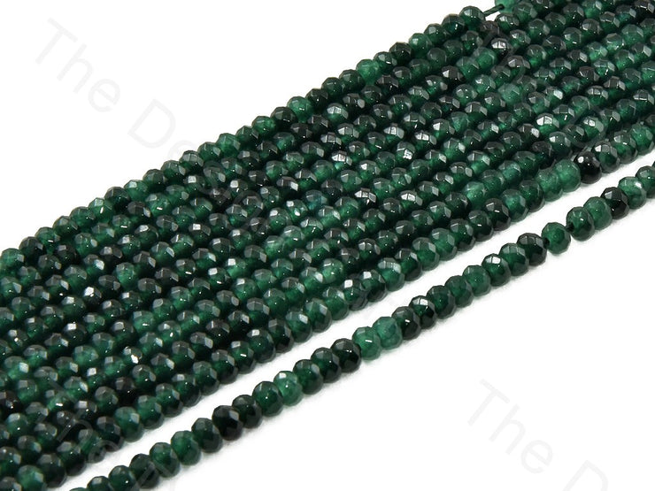 4 mm Dark Green Rondelle Jade Quartz Stones