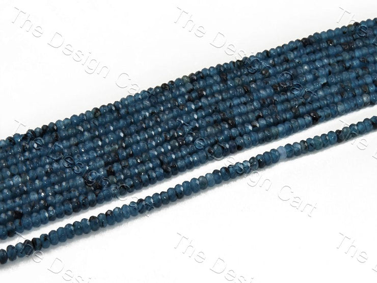 4 mm Steel Blue & Black Rondelle Jade Quartz Stones (12355763923)