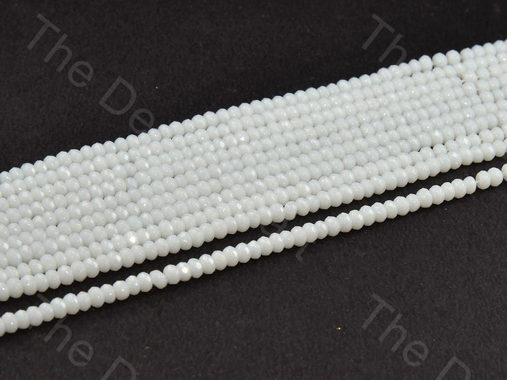 4 mm Opaque White Rondelle Jade Quartz Stones (12355765971)