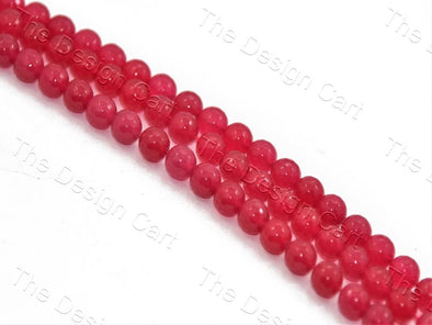 Rose Red Jade Rondelle Quartz Semi Precious Stone