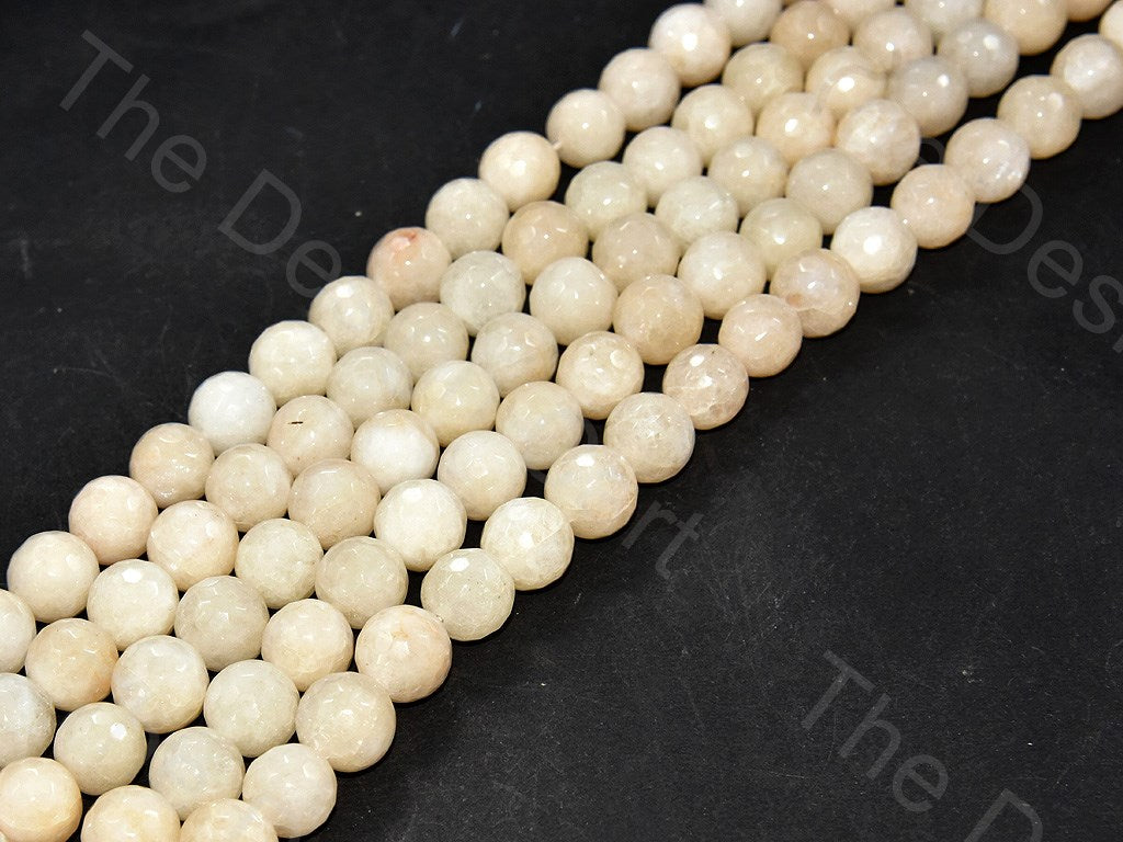 12 mm Off White Jade Quartz Semi Precious Stones