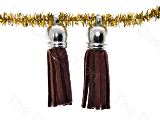Brown Silver Small Leather Cord Tassels