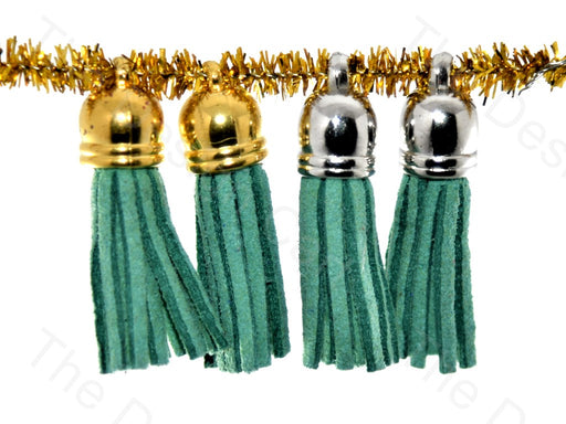 Teal Golden / Silver Small Leather Cord Tassels