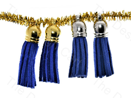 Blue Golden / Silver Small Leather Cord Tassels