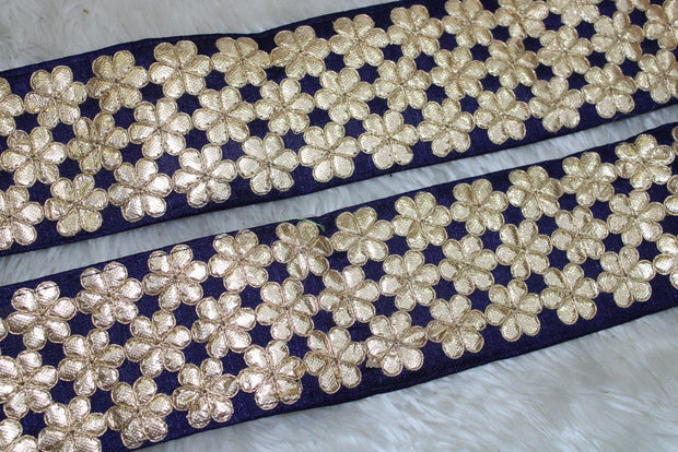 Navy Blue Floral Gota Work Lace Border