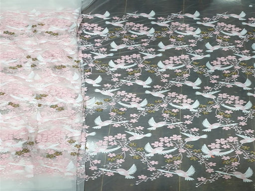Light Pink Birds Embroidered Net Fabric