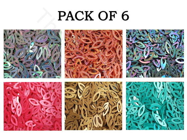 Pack Of 6 Multicolour Oval Sequins Combo | The Design Cart (1863627243554)