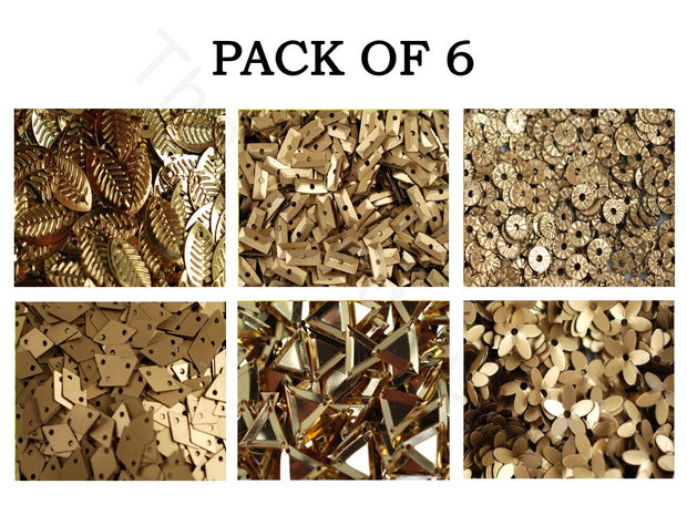 Pack Of 6 Golden Family Sequins Combo | The Design Cart
