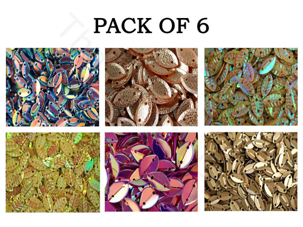 Pack Of 6 Multicolour Leaf Sequins Combo | The Design Cart