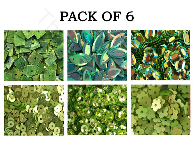 Pack Of 6 Green Family Assorted Shapes Sequins Combo | The Design Cart