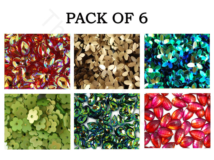 Pack Of 6 Multicolour Assorted Shapes Sequins Combo | The Design Cart (1863627374626)