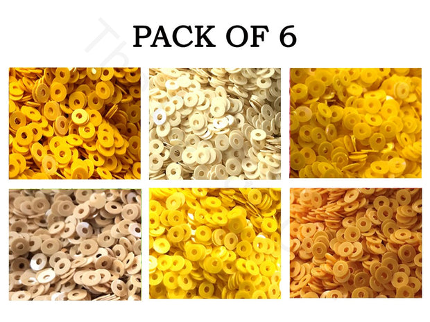Pack Of 6 Yellow Family Sequins Combo | The Design Cart (1863627014178)