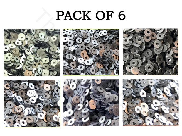 Pack Of 6 Gray Family Sequins Combo | The Design Cart