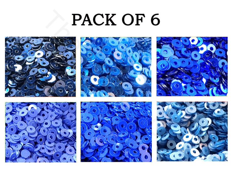 Pack Of 6 Blue Family Sequins Combo | The Design Cart