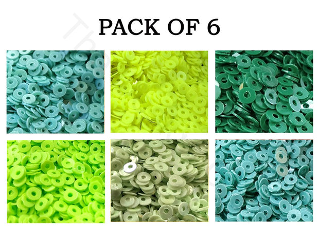 Pack Of 6 Green Family Sequins Combo | The Design Cart