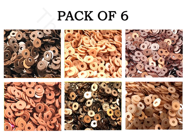Pack Of 6 Brown Family Sequins Combo | The Design Cart (1863627210786)