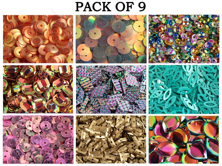 Pack Of 9 Multicolour Sequins Combo | The Design Cart