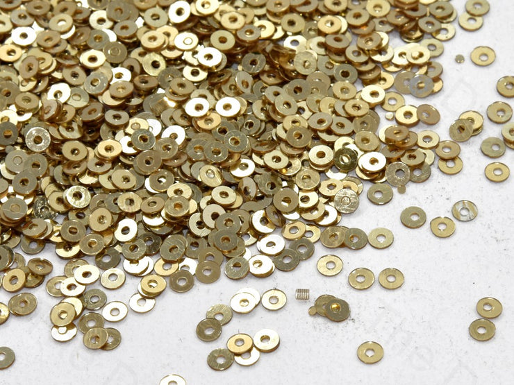 Golden Metallic Centrehole Micro Circular Sequins | The Design Cart